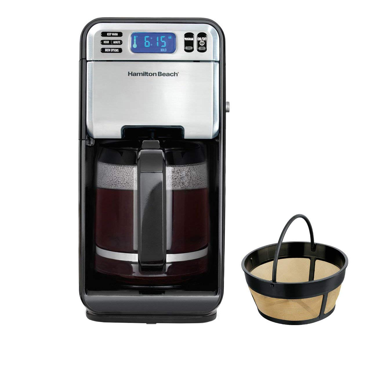 Hamilton Beach 12 Cup Digital Automatic LCD Coffeemaker Brewer & Coffee Filter