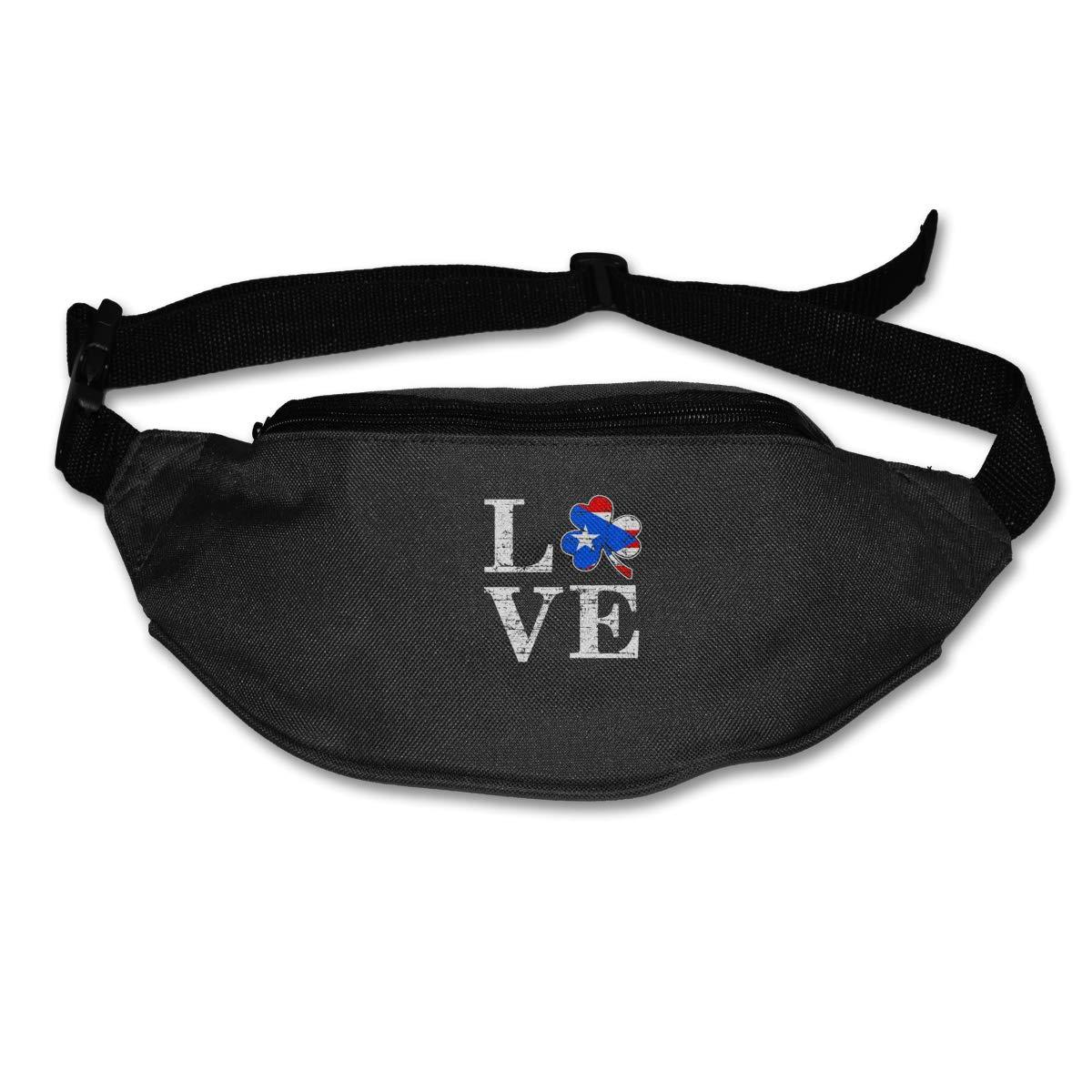 Love Puerto Rico Flag Sport Waist Bag Fanny Pack Adjustable For Travel