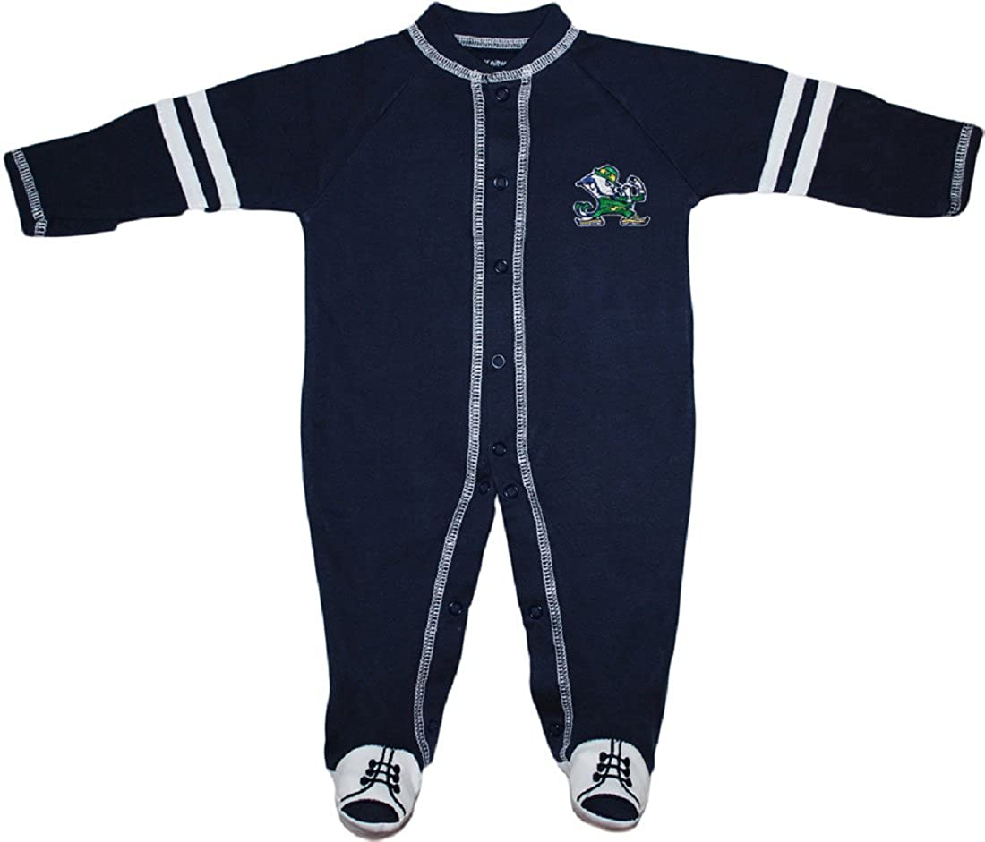 Creative Knitwear University of Notre Dame Fighting Irish Sports Shoe Footed Baby Romper