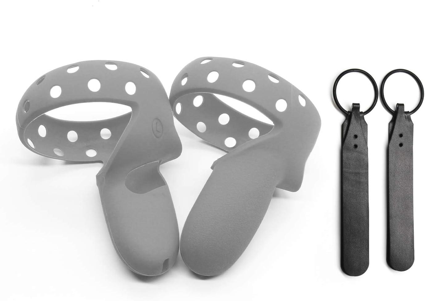 Cubierta de Agarre +Correas para los Nudillos Cubierta del Controlador Oculus Quest 2 Impermeable Antideslizante Elygo Accesorios VR para Auriculares Oculus Quest 2 Azul