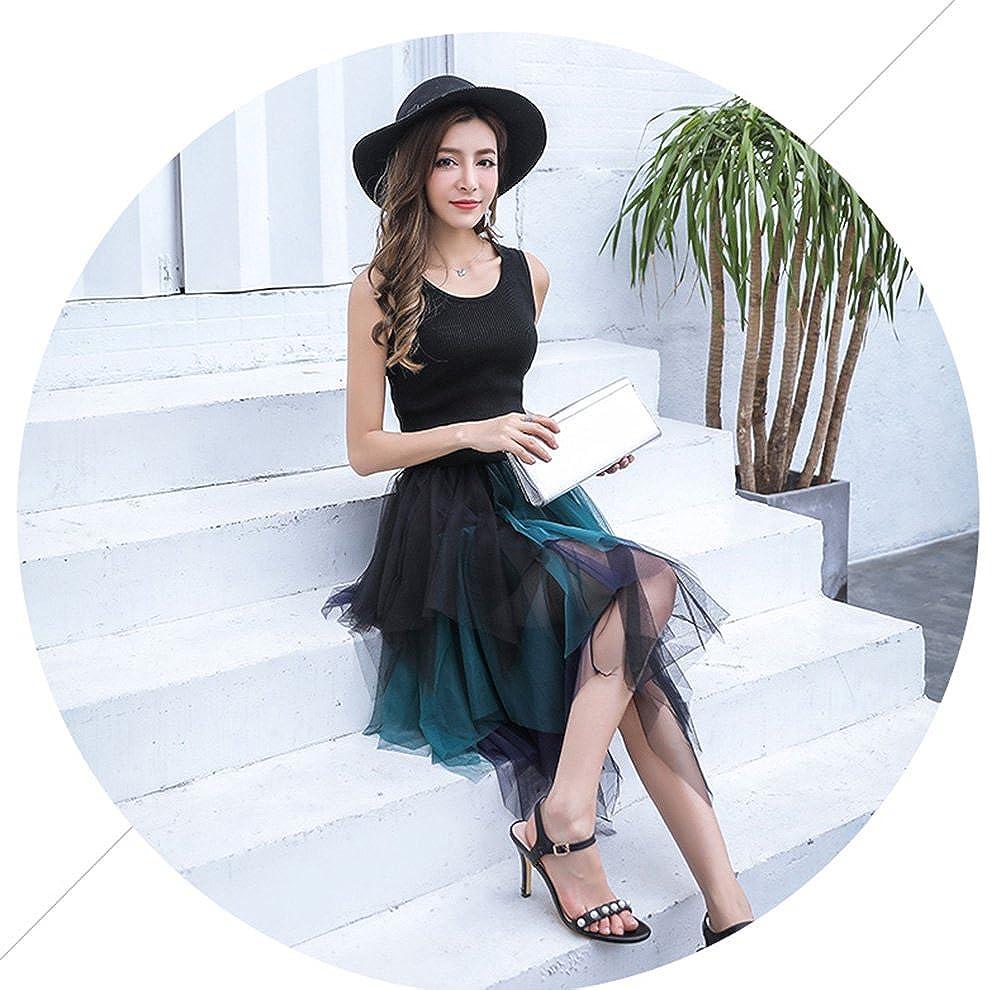 85a3e32364dd14 Femme Jupe en Tulle Cocktail Jupe Midi Asymétrique longue Taille Élastique  Chic Jupe imprimée