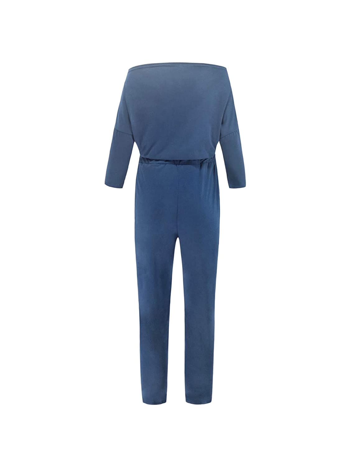 Comaba Womens Solid Color Mid-Waist Lace-up Pockets Long-Sleeve Jumpsuits