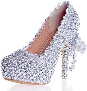 MNII Femmes Chaussures Argent Glitter Gorgeous Court Chaussures Mariage Bridal Evening Party Crystal High Heels- Bonne qualité