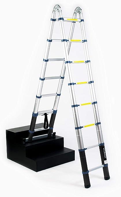 WORHAN® 5m Escalera Doble Telescopica PRO Multiuso Multifuncional Plegable Tijera Aluminio Anodizado Nueva Generación Calidad Alta 500cm K5C+bag: Amazon.es: Bricolaje y herramientas