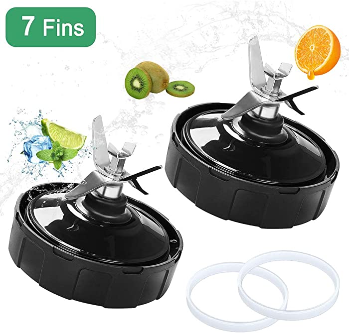 2 Pack Ninja Blender Replacement Parts Vodche Ninja Bottom Blade 7 Fins Replacement Extractor Blades Part for Nutri Ninjia Blender Blade fits Nutri Ninja Auto iQ BL482 BL642 NN102 BL682 BL2013