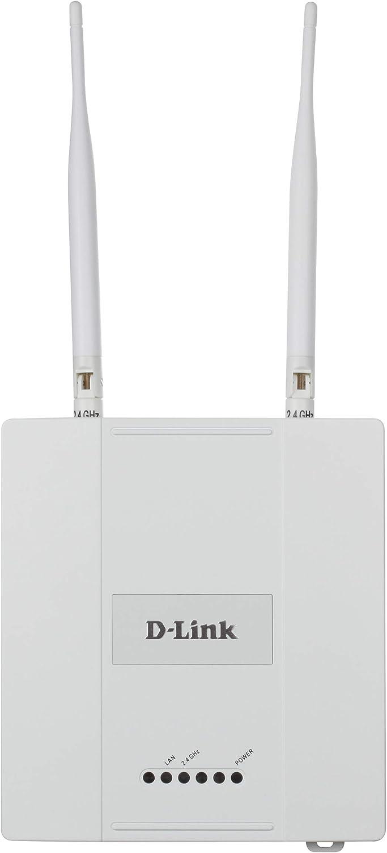 D-Link DAP-2360 - Punto de acceso PoE WiFi N 300 para interior, chasis metálico, 802.11n/g/b hasta 300 Mbps en 2.4 GHz, 1 puerto Gigabit 10/100/1000 Mbps, antenas externas, portal cautivo, VLAN, QoS