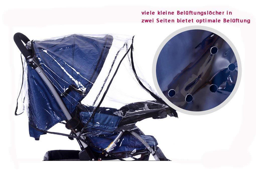 gegen Wind Regen Wetter Transparent PEVA Material XASY Universal Kinderwagen Regenschutz Regencover Regenh/ülle f/ür Kinderwagen Buggy Regen-Abdeckung mit Doppel-Rei/ßverschluss /Öffnung Sichtfenster