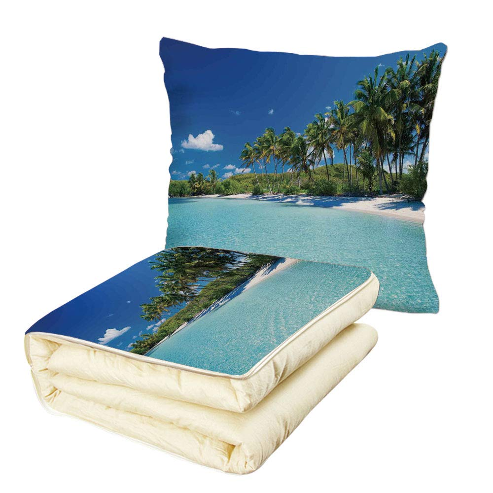 iPrint Quilt Dual-Use Pillow Ocean Decor Relax Beach Resort Spa Palm Trees and Sea Multifunctional Air-Conditioning Quilt