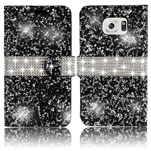 For Samsung Galaxy S7 Edge 2016 Diamond Phone Case,Vandot Bling Shiny Shining Wallet Case With Card Slots PU leather Magnetic Folio Stand Book Style Protective Cover Skin -Glitter - Money Usps Tracking Order