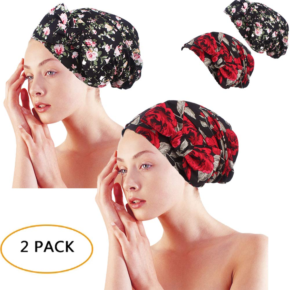 Gracmyron Cotton Sleeping Cap Chemo Bonnet Turban Multipurpose Headwear with Long Drawstring(One Size, Cotton Black& red 2 Pairs)