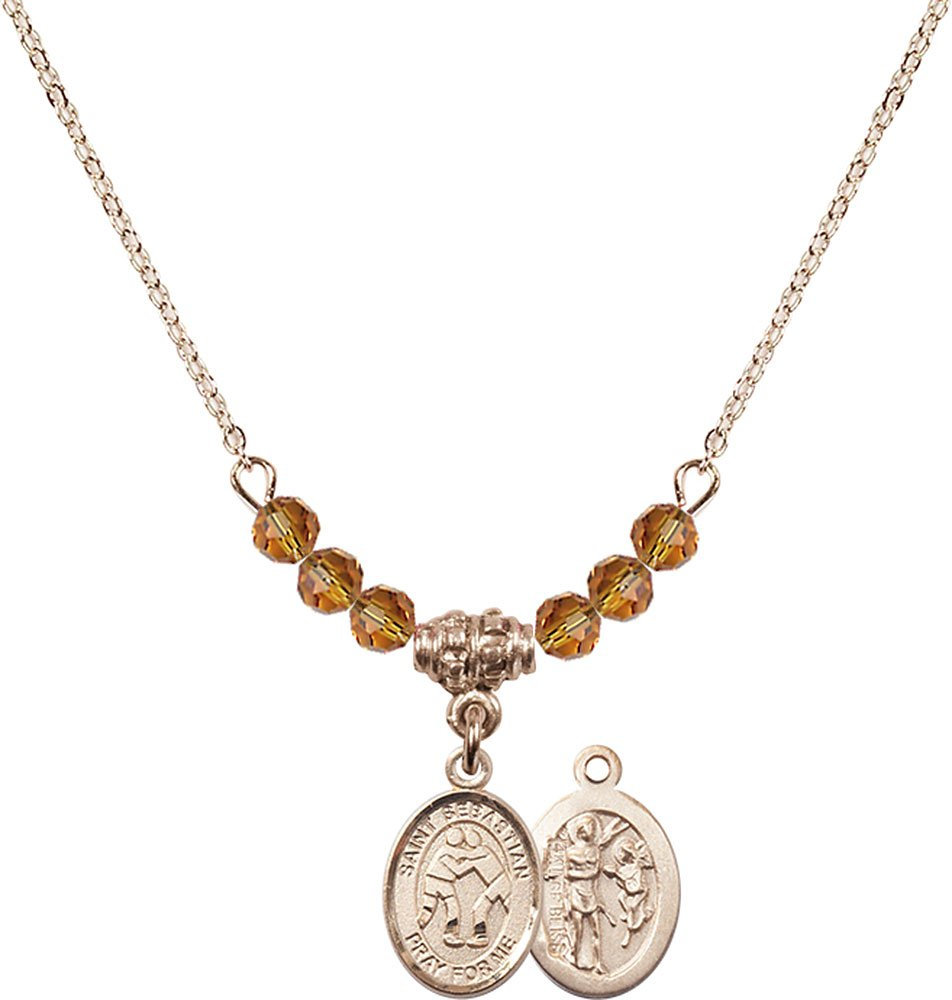 18-Inch Hamilton Gold Plated Necklace with 4mm Topaz Birthstone Beads and Gold Filled Saint Sebastian/Wrestling Charm.