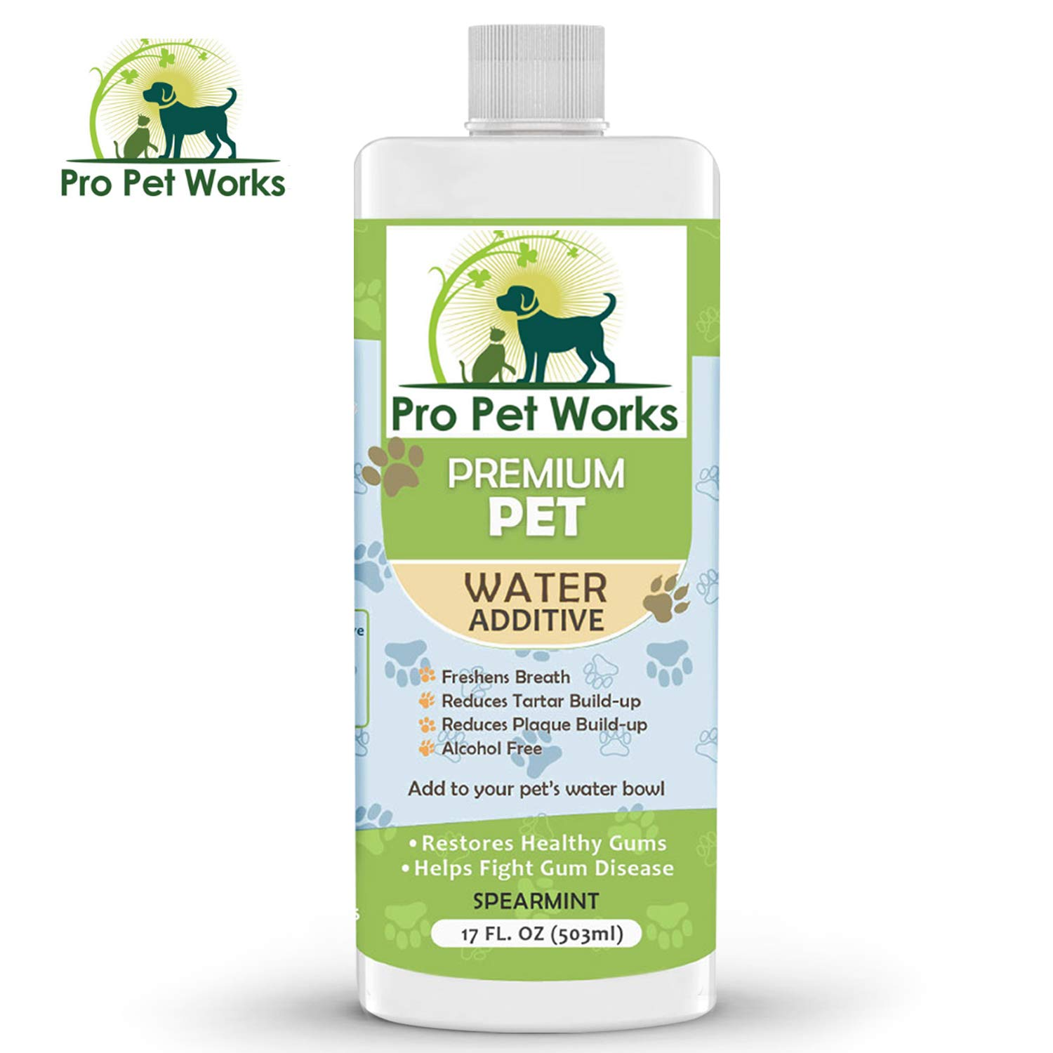 Premium Pet Dental Water Additive for Dogs Cats & Small Animals-Dog Dental Care for Bad Pet Breath-Oral Mouth Care That Fights Tartar, Plaque and Gum Disease- [17 oz] Dog Toothpaste Deodorizer by Pro Pet Works