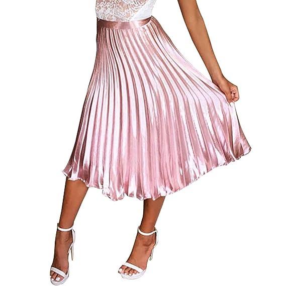 Mujer Falda Midi Metálica Premium, Falda Plisada de Acordeón ...
