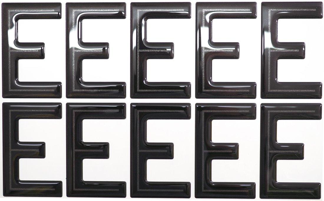 SET OF 10 Highline Gel Domed Self Adhesive Number Plate Digit 'E' Capricornone