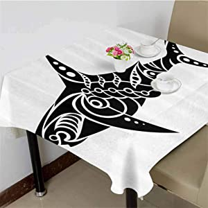 dsdsgog Fabric Tablecloth Shark Tattoo Design in Black and White Under The Sea Wildlife Theme Fish Artwork,36x36 inch Garden Square Tablecloth