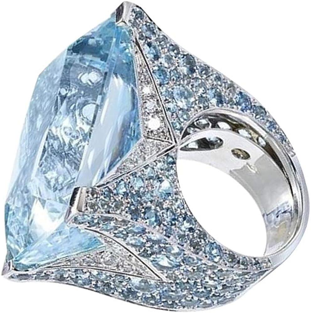 Blue Zircon Gem magnifique Banquet Mariage Bande Argent Bague Taille Cadeau 7 8