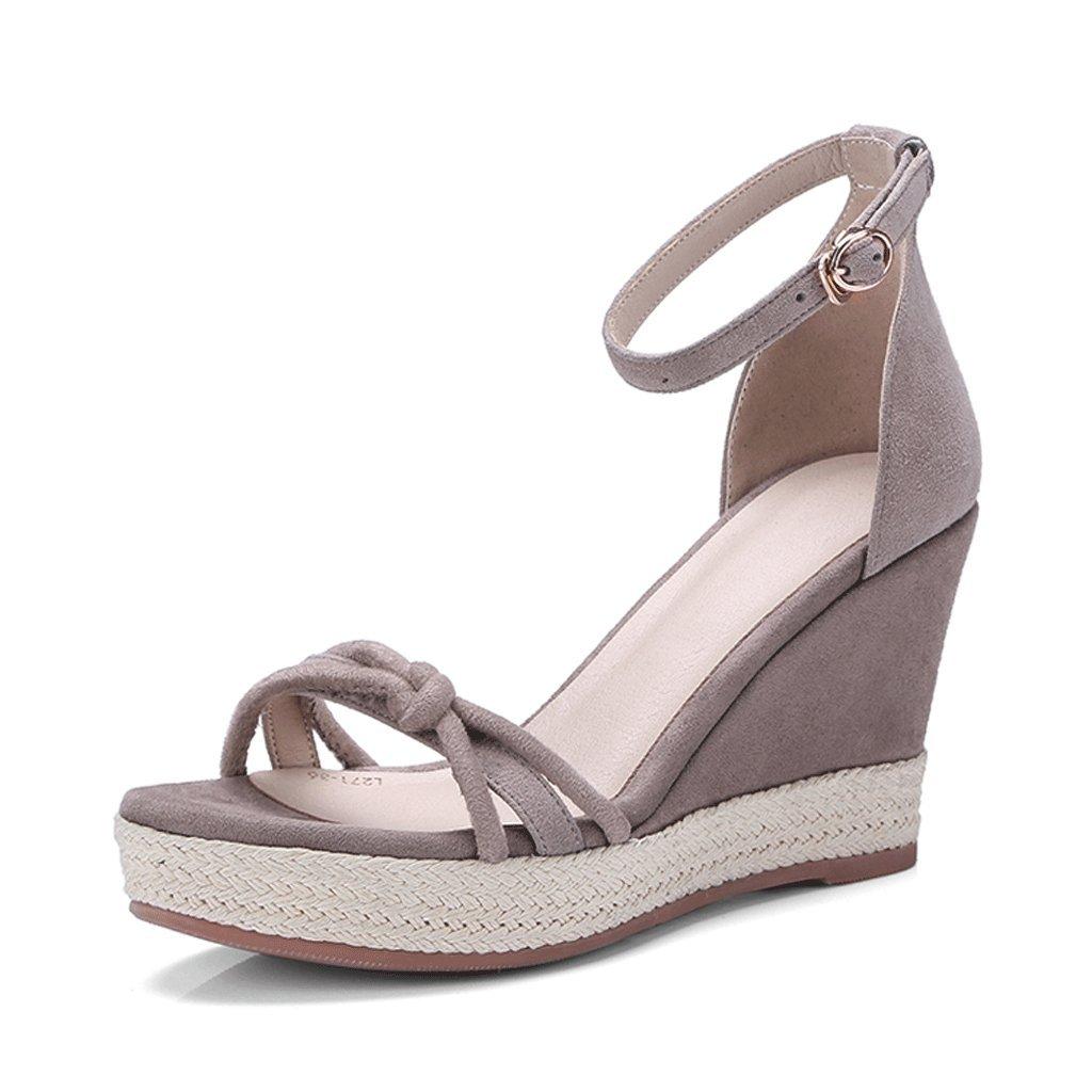Sandalias de cuña cuña cuña elegantes Plataformas de punta abierta de verano Sandalias de plataforma de mujer ( Color : Gris , Tamaño : 36 ) 18ab9b