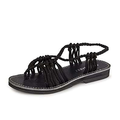 e84334302 gracosy Womens Flat Sandals Shoes Summer Peep Toe Flip Flops Thongs Braided  Roman Beach Slippers Fashion Cross Straps Slip on Comfy Wedge Heels Casual  ...