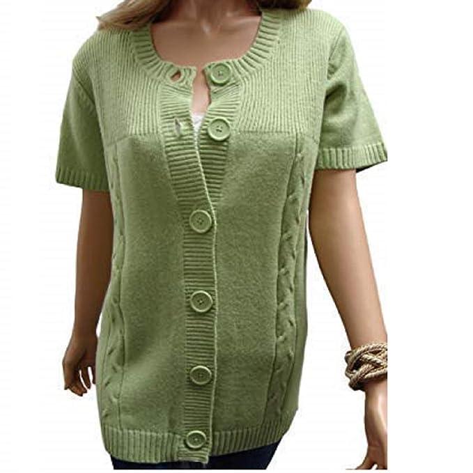 a09b70197a holidaysuitcase Womans short sleeve large button cardigan  Amazon.co.uk   Clothing