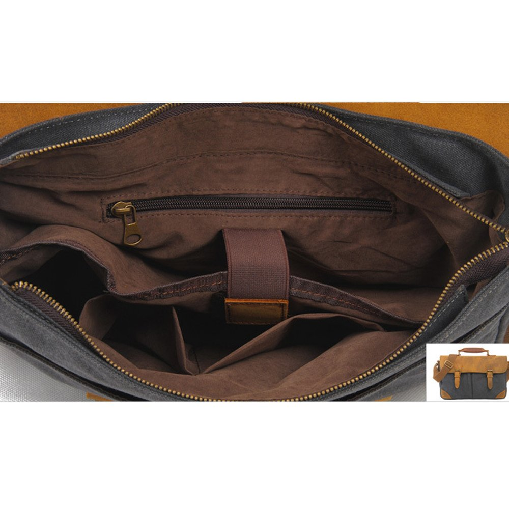 Satchel Bag Canvas Real Leather with Handle for Men Women