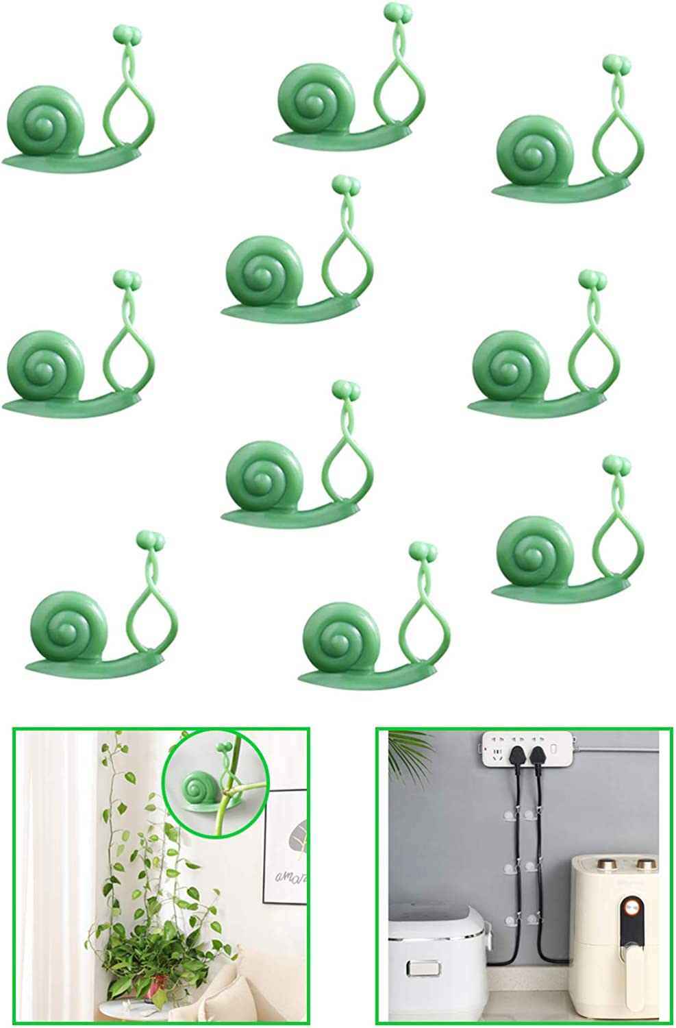 Plant Fixer Clips Invisible Wall Fixture Vine Hooks Climbing Support Holder Sticky Training Wire Ties Indoor Ceiling 30pcs Snails Self Adhesive Binding for Home Garden Wall Decoratione (Green)