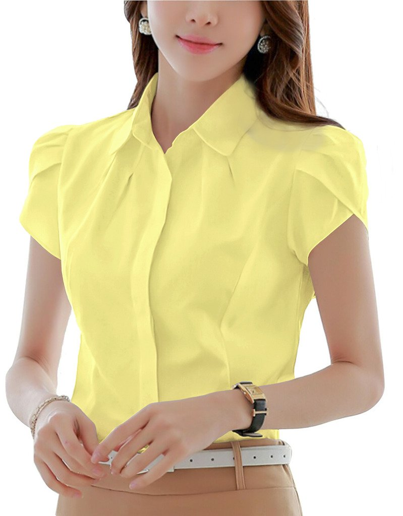 DPO Women's Cotton Collared Button Down Shirt Short Sleeve Yellow 10 Tag 2XL