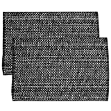 Sweet Home Collection Trends Two Tone 100% Cotton Woven Placemat (6 Pack), 13'' x 19'', Black
