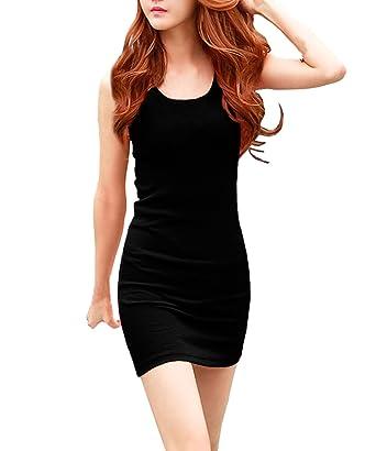 8a73ac54364 Face N Face Women s Summer Classic Scoop Neck Sleeveless Bodycon Mini Tank  Dress Small Black