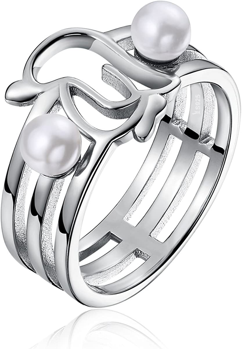 Simulated Pearl Everbling Openwork Penguins 925 Sterling Silver Statement Ring