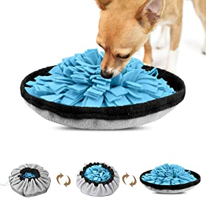 VIEFIN Snuffle Mat for Dogs,2 in 1 Dog Sniffing Mat Pet Snuffle Bowl,Pet Foraging Mat Nosework Training Mat,Dog Puzzle Toys for Encourages Foraging Skills for Cats Small Medium Dogs-Green,Blue