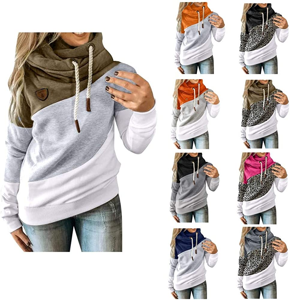 Womens Cowl Neck Color Block Striped Tunic Sweatshirt Drawstring Pullover Long Sleeve Loose Hoodie Jumper Tops
