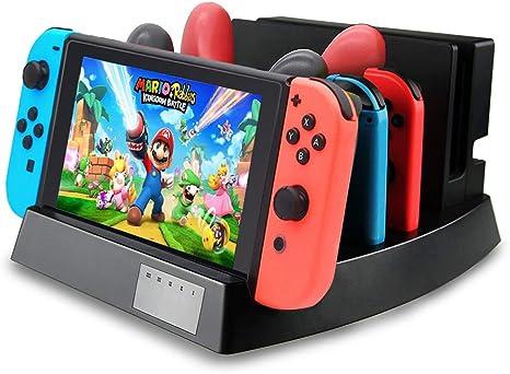 Estación de Carga Personalizada, Compatible con Nintendo Switch Joy-con y Controlador Pro con indicador de Carga, Soporte de Almacenamiento 6 en 1: Amazon.es: Electrónica