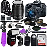 Canon 77D EOS DSLR Camera with Canon 18-135mm IS USM Lens, Auxiliary Panoramic, Telephoto Lenses, 32GB Memory, Accessory Bundle