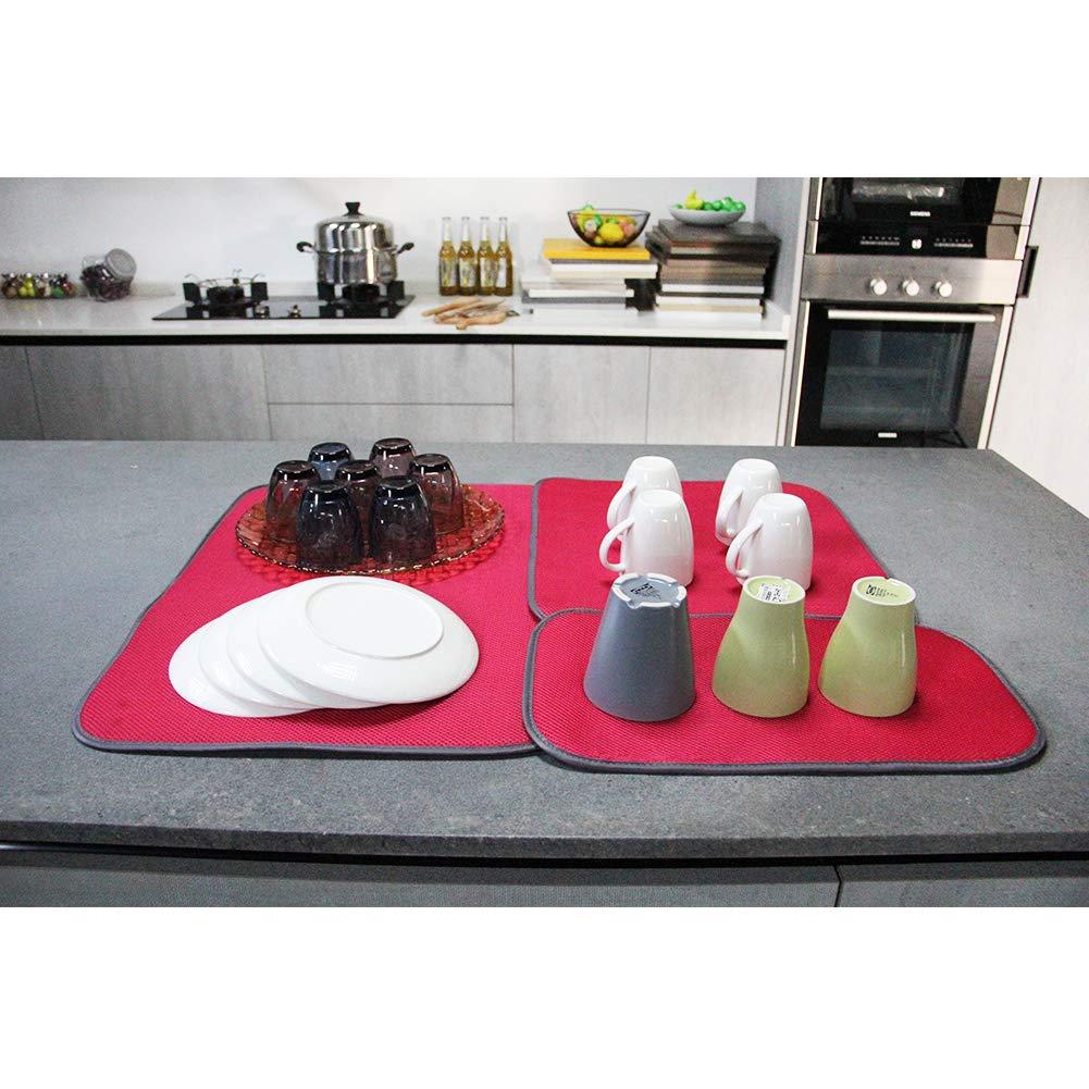 Jovilife 3PACK Microfiber Dish Drying Mat 16X18 Inch Kitchen Mat Microfiber Absorbent Washable black Black