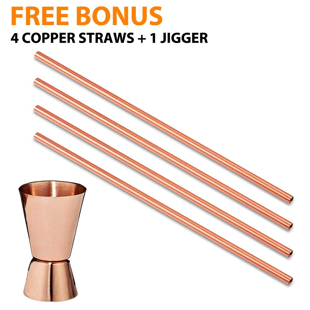 Moscow Mule Copper Mugs - Set of 4-100% HANDCRAFTED - Food Safe Pure Solid Copper Mugs - 16 oz Gift Set with BONUS: Highest Quality Cocktail Copper Straws and Jigger! (Copper) by Gold Armour (Image #4)