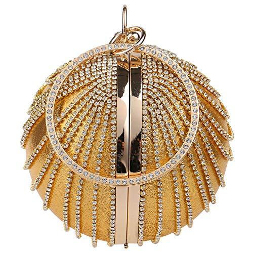 Semoic Imitación Noche Monedero Redonda Clutch oro Mujer De Diamante Anillo Nolsa Bolsa Bolso zPzrqp