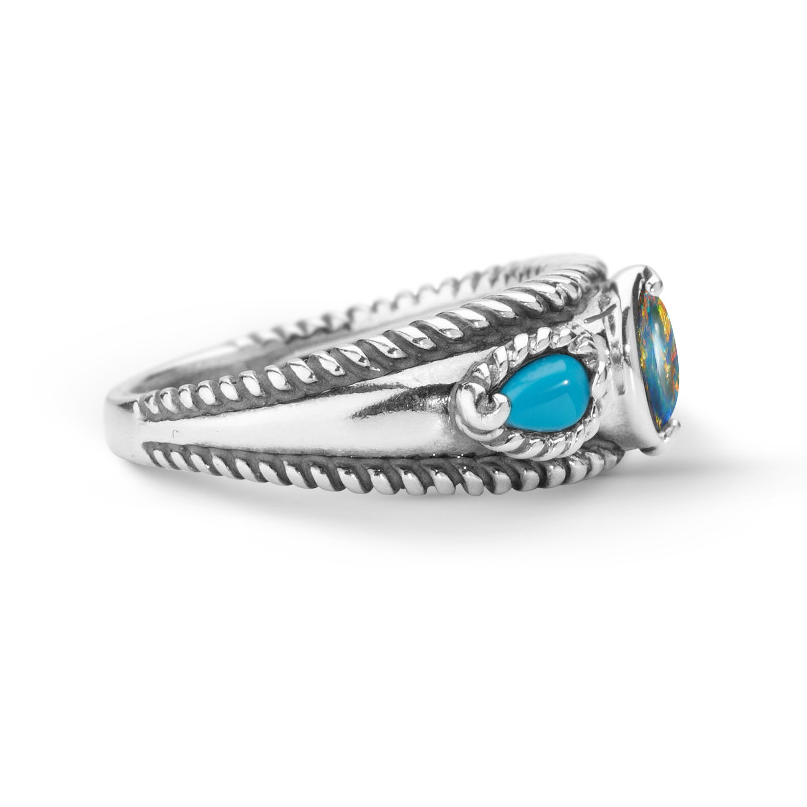 Carolyn Pollack Sterling Silver Sleeping Beauty Turquoise Opal Triple Band Ring,  size  8 by Carolyn Pollack (Image #5)