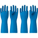 PACIFIC PPE 2 Pairs Reusable Dishwashing Cleaning Gloves, Household, Kitchen, Cotton Liner, Blue, Medium