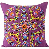 "Eyes of India - 16"" Purple Embroidered Colorful Decorative Sofa Throw Couch Pillow Cushion Cover Boho Bohemian Indian Bohemia Cover ONLY"