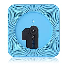 Wall Mounted CD Player, Portable Wall Hanging Mounted Bluetooth Stereo Hi-fi Remote Control CD MP3 Music Player (Blue)