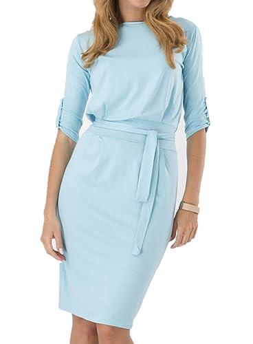 Tueenhuge Women 3/4 Sleeve Knee Length Pencil Dress Loose Frock Dress