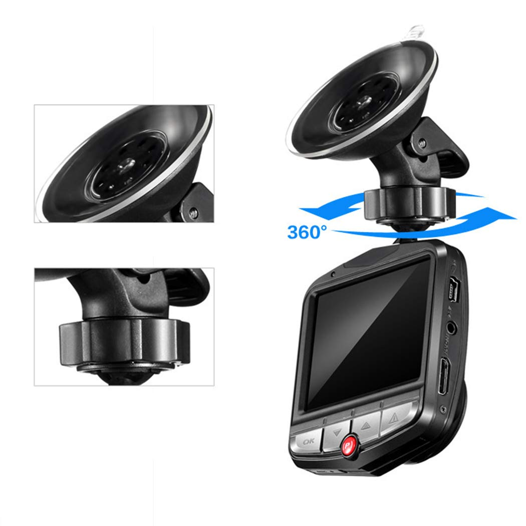 Mini Car 1080P Night Vision Dash Camera Car DVR 172 Degree Wide Angle Driving Recorder in-Visor Video (Black)