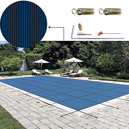 Happybuy Pool Safety Cover 20'x40' Rectangle Inground Safety Pool Cover Blue Mesh Solid Pool Safety Cover for Swimming Pool Winter Safety Cover