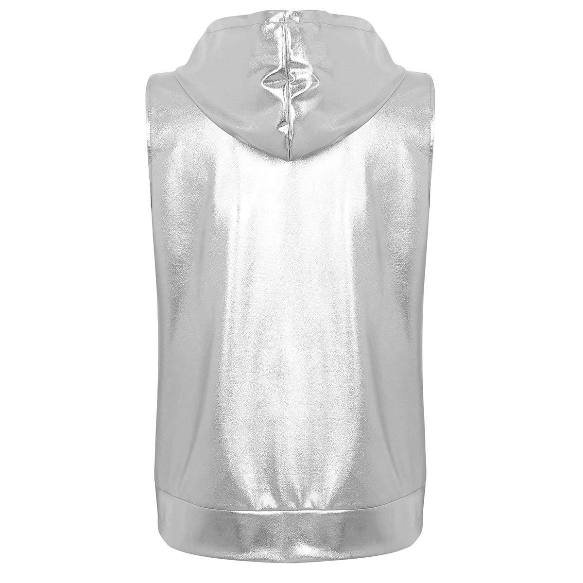 iiniim Sweats à Capuche Homme Jeune Garçon Gilet sans Manche Métallique  Brillants Sweat Shirt de Sport Veste de Danse Hippie Jazz Hip Hop Punk T  Shirt ... eb3ddb89d159