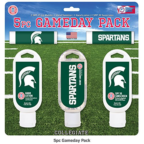 - Worthy Promotional NCAA Michigan State Spartans 5-Piece Game Day Pack with 2 Lip Balms, 1 Hand Lotion, 1 Hand Sanitizer, 1 SPF 30 Sport Sunscreen