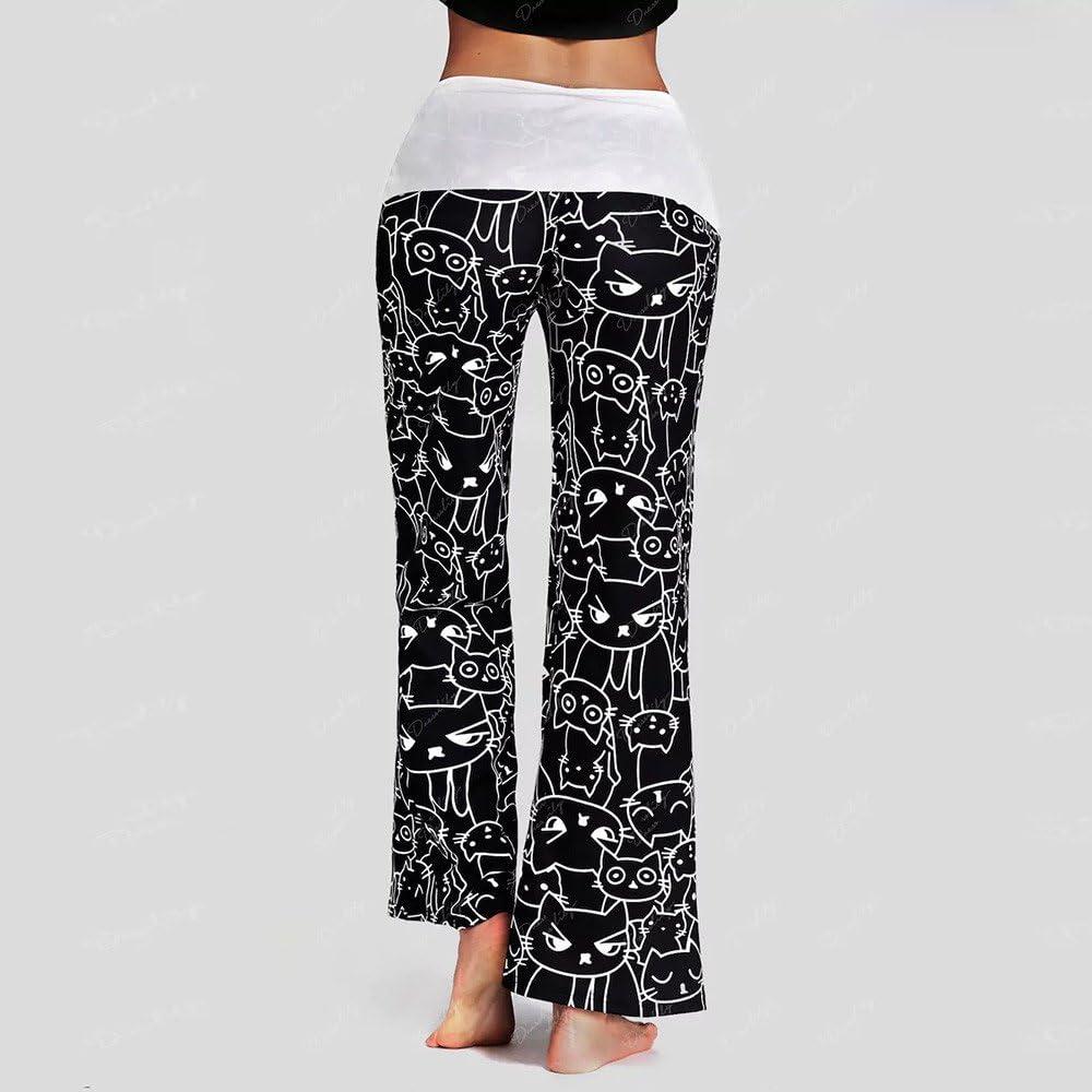 Nouvelle Mode d/écontract/ée Pantalon /à Cordon de Serrage pour Femmes Leggings imprim/é Chat