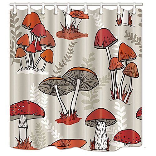 KOTOM NYMB Watercolor Flowers Shower Curtains for Bathroom, Colorful Mushrooms Grow on the Grass, Polyester Fabric Waterproof Bath Curtain, Shower Curtain Hooks Included, - Mushroom Curtain