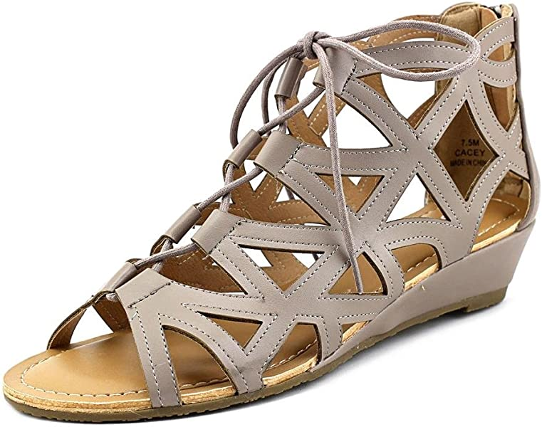 84895d9e691 Esprit Women s Cacey Geometric Caged Laser Cutout Lace Up Open Toe Wedge  Ankle Bootie (7.5