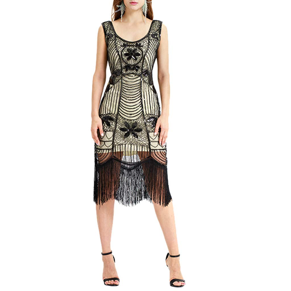 Women Vintage 1920s Bead Fringe Sequin Lace Party Flapper Cocktail Prom Dress by Malbaba Dress