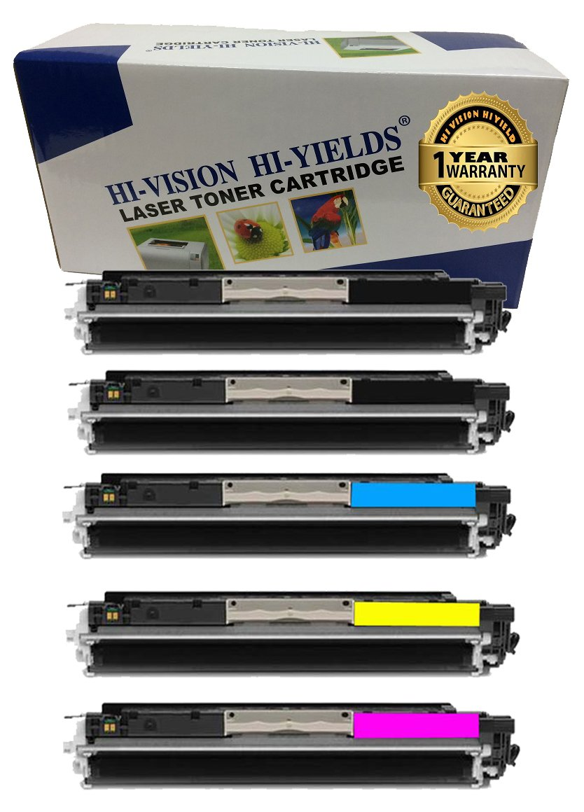HI-VISION HI-YIELDS Compatible Toner Cartridge Replacement for Hewlett-Packard (HP) 126A CE310A CE311A CE312A CE313A (2 Black, 1 Cyan, 1 Yellow, 1 Magenta, 5-Pack)